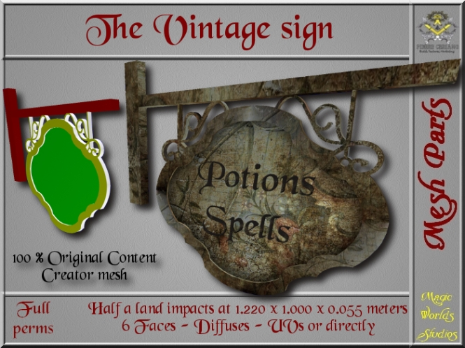 Vintage sign - 0,500 LI - FULL PERMS Mesh SL Add