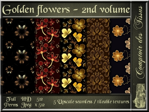 Golden flowers - 2nd volume - 5 FULL PERMS Textures